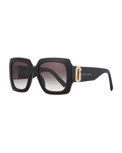 Neiman Marcus 110th Anniversary Edition Square Sunglasses, Black/Gray