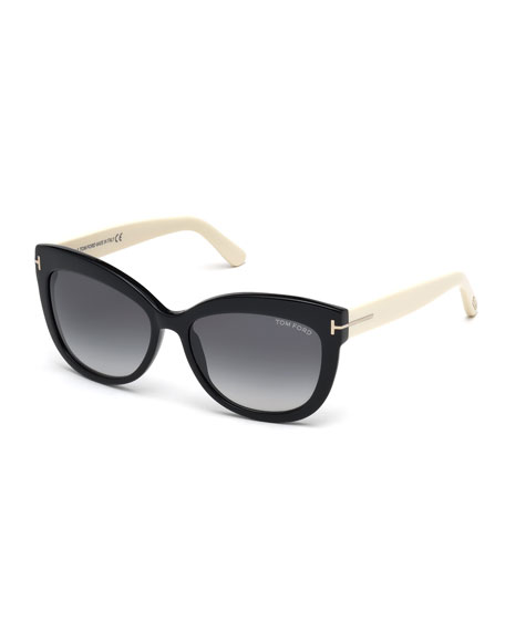 Image 1 of 2: TOM FORD Alistair Two-Tone Squared Cat-Eye Sunglasses, Black/Cream