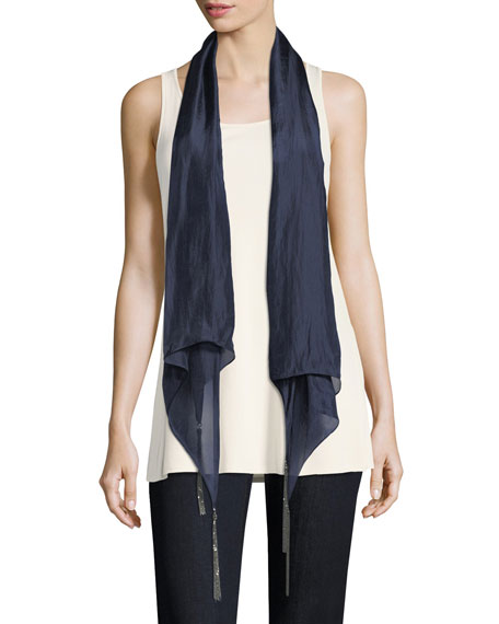 Whisper-Silk Chain Scarf, Midnight