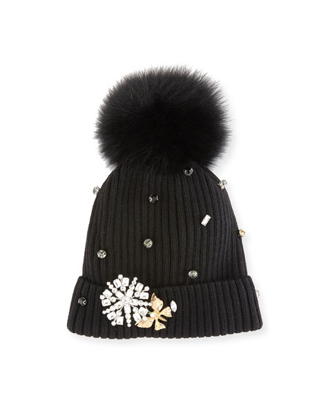 Crystal-Trimmed Knit Hat w/ Fox Fur Pompom