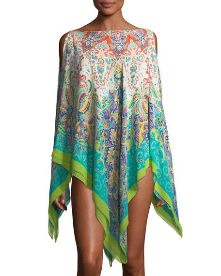 Bateau-Neckline Printed Silk Swim Poncho