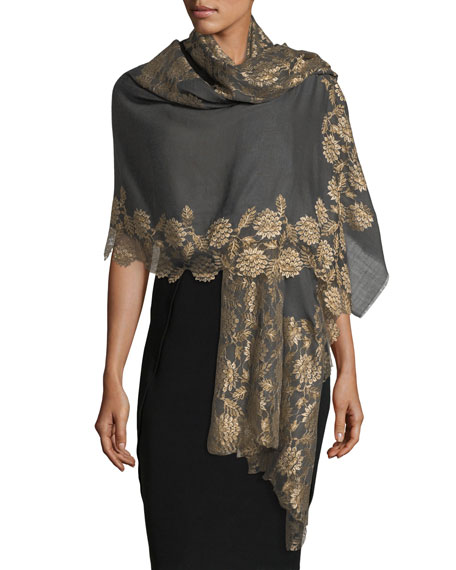 Lace-Trim Evening Stole/Wrap