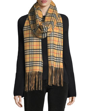 8b76c7ae6 Burberry Cashmere Reversible Vintage Check Pattern Scarf