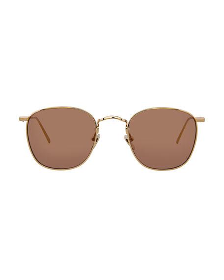 Linda Farrow Square Gradient Titanium Sunglasses, Gold