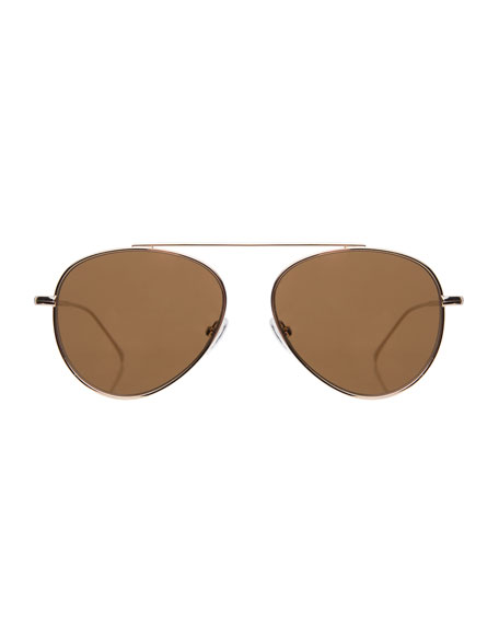 Illesteva Dor II Straight Brow Bar Aviator Sunglasses