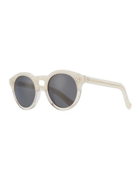 Illesteva Patterned Round Monochromatic Sunglasses