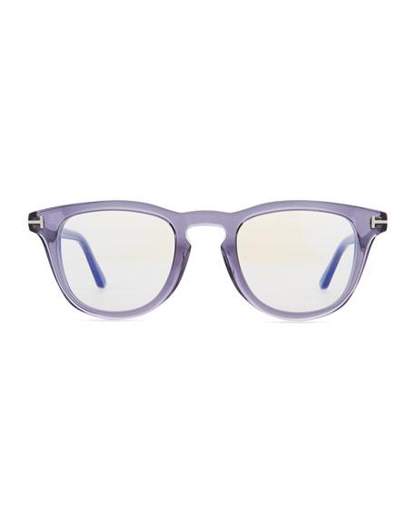 Blue Block Semitransparent Acetate Square Optical Frames