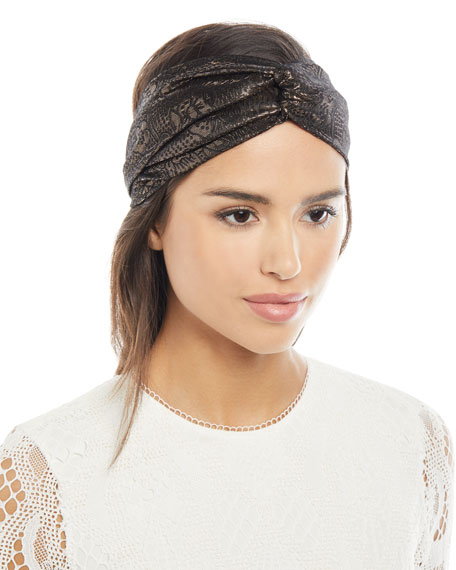 Jennifer Behr Satin Metallic Head Wrap