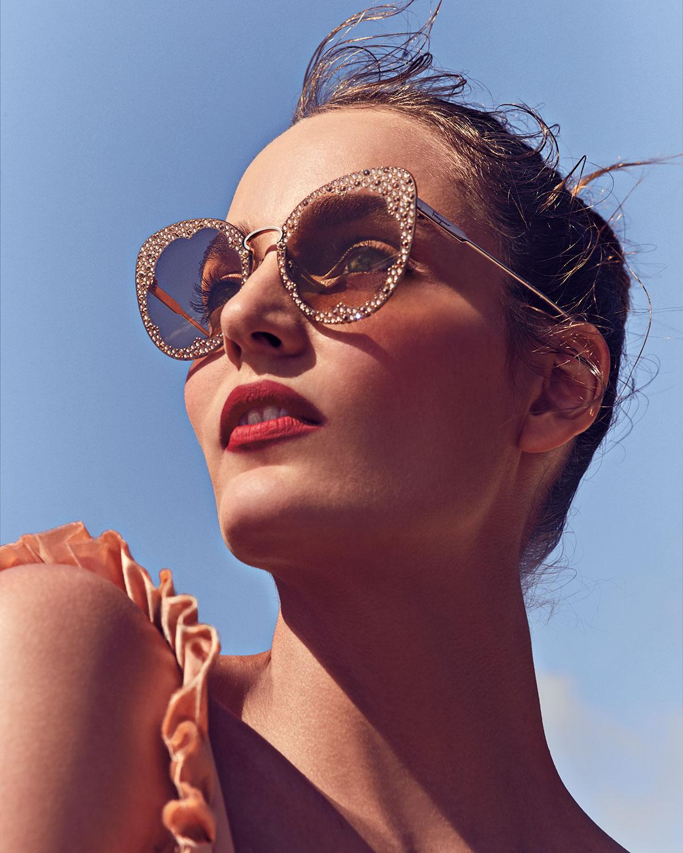 Salvatore Ferragamo Fiore Rimless Cat Eye Sunglasses W Crystal Embellishment Neiman Marcus