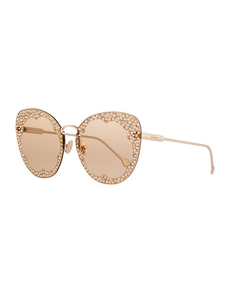 Salvatore Ferragamo Fiore Rimless Cat-Eye Sunglasses w/ Crystal Embellishment
