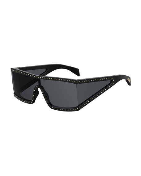 Image 1 of 1: Acetate Shield Sunglasses w/ Stud Trim
