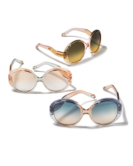 Chloe Qleo Semi-Transparent Oval Sunglasses