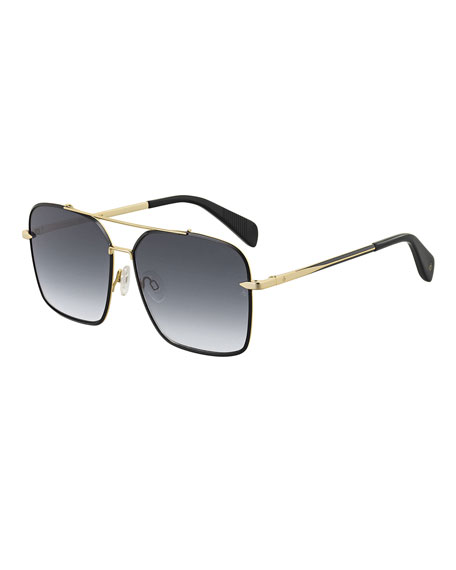 Image 1 of 1: Square Gradient Stainless Steel Sunglasses