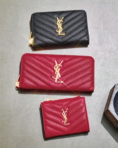 Saint Laurent Monogram Ysl Quilted Grain Leather Zip Card