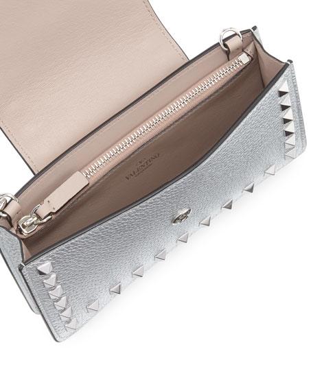 Valentino Garavani Rockstud Metallic Leather Flap Phone Case with Chain