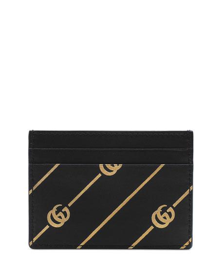 Gucci GG Diagonal-Stripe Leather Card Case