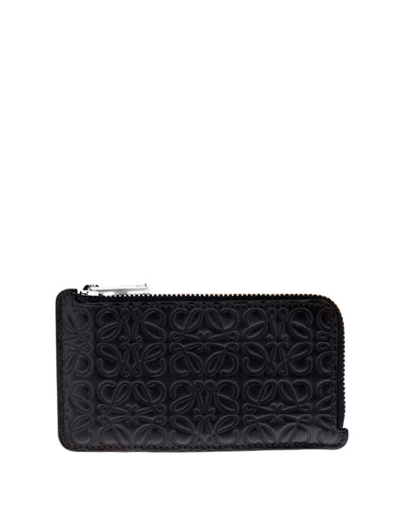 Image 1 of 2: Quilted Leather Coin Zip Card Holder