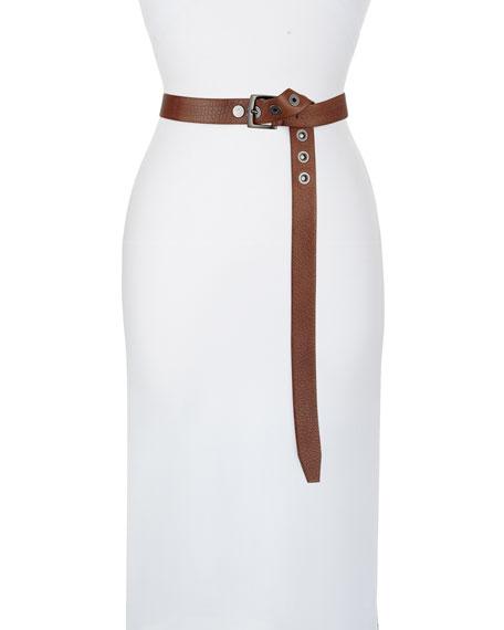 Brunello Cucinelli Textured Leather Grommet-Front Belt