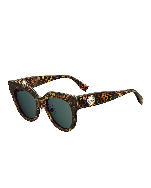 62f50116a Fendi FF-Print Round Acetate Sunglasses | Neiman Marcus