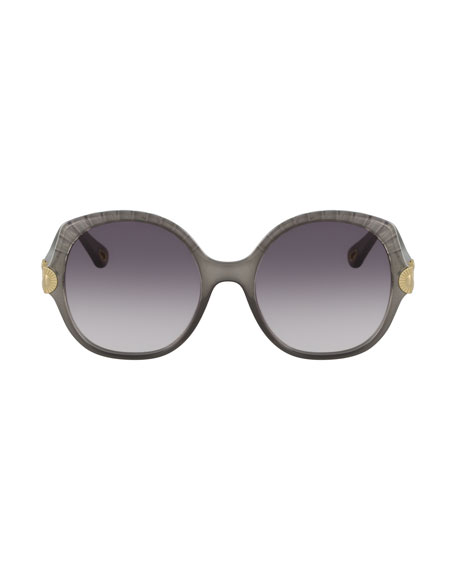 Image 2 of 2: Chloe Scalloped Round Plastic Sunglasses