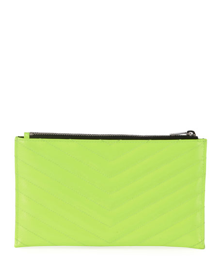 Image 2 of 2: Monogram YSL Quilted Neon Bill Pouch Wallet