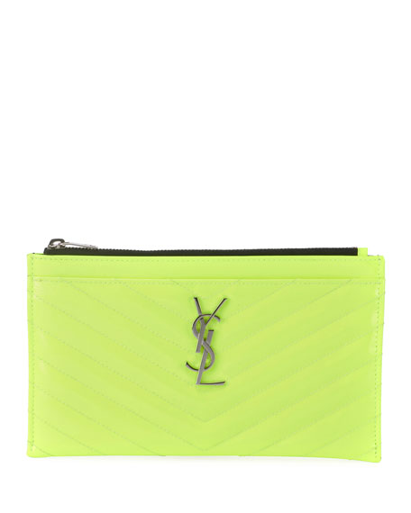 Image 1 of 2: Monogram YSL Quilted Neon Bill Pouch Wallet