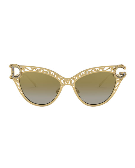 Image 2 of 3: Metal Scroll Mirrored Cat-Eye Sunglasses