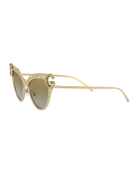 Image 3 of 3: Metal Scroll Mirrored Cat-Eye Sunglasses