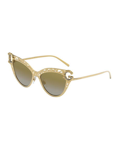 Image 1 of 3: Metal Scroll Mirrored Cat-Eye Sunglasses