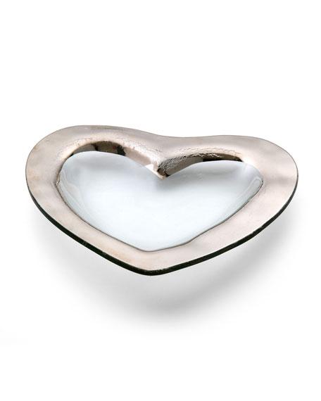 "Roman Antique Platinum 8"" Heart Bowl"