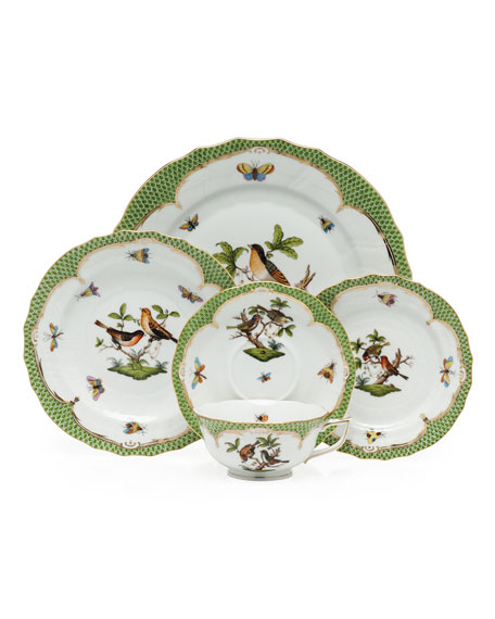 Herend Rothschild Bird Green Border Dinner Plate #1