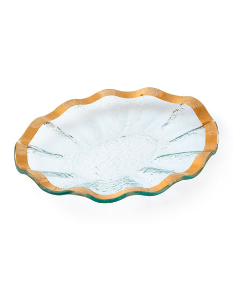 Annieglass Ruffle Gold Small Oval Tray