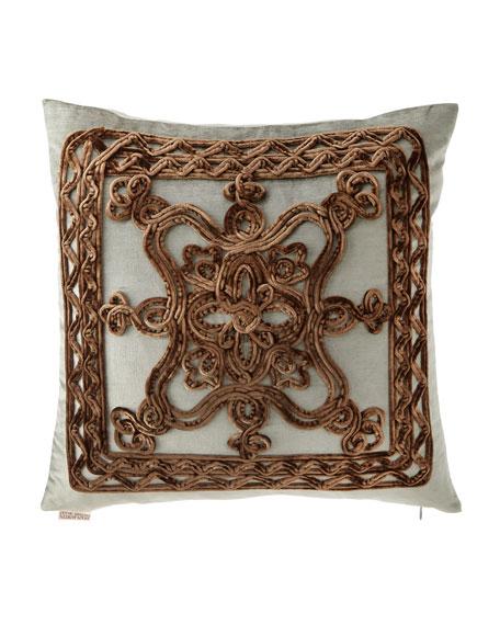 "Dian Austin Couture Home Brompton Court Passementerie Velvet Pillow, 19""Sq."