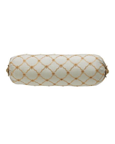 "Petit Trianon Trellis Neck Roll Pillow, 8"" x 19"""
