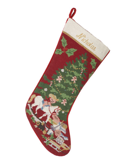 Sferra Holiday Needlepoint Christmas Stocking Plain