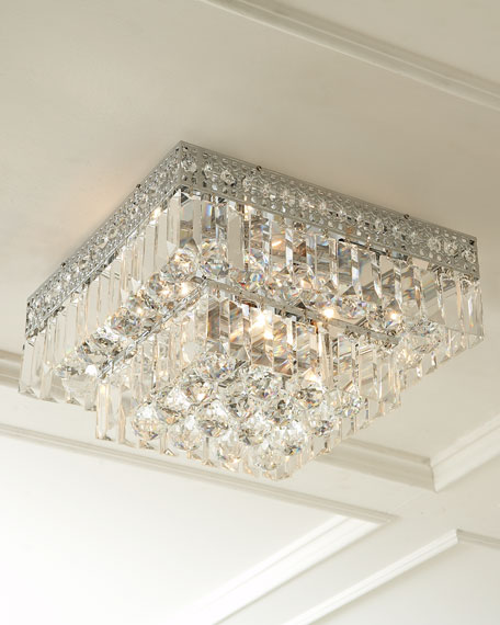Five light crystal flush mount ceiling fixture
