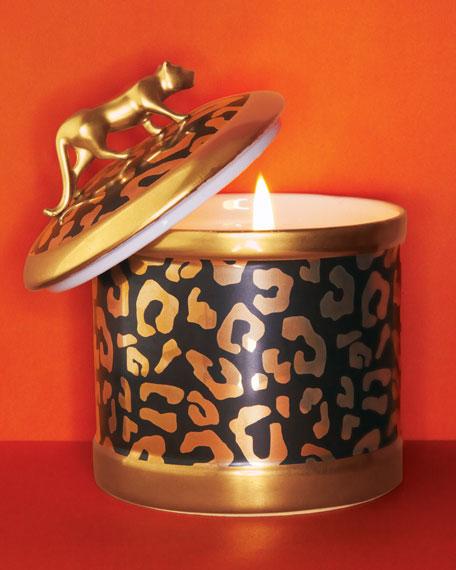 Leopard-Design Candleholder & Scented Candle