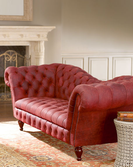 Berry Leather Recamier Sofa