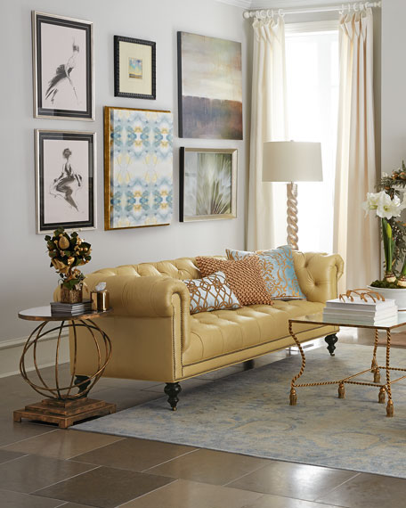 Yellow Leather Sectional Sofa: Old Hickory Tannery Morgan Sunshine Leather Chesterfield Sofa