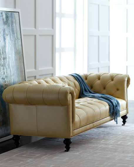 Morgan Sunshine Leather Chesterfield Sofa. Luxury Living Room Furniture at Neiman Marcus