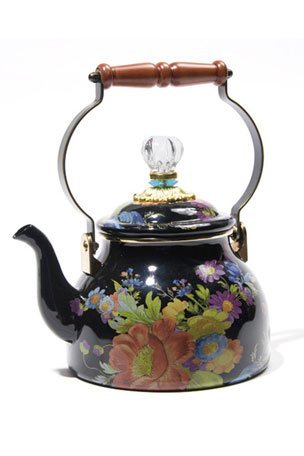 MacKenzie-Childs Flower Market Black Two-Quart Tea Kettle