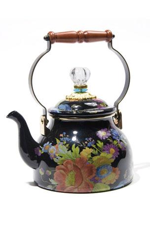 MacKenzie-Childs Flower Market Black Two-Quart Tea Kettle