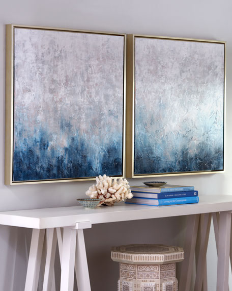 "Image 1 of 3: ""Frost on Sapphire"" Original Paintings, 2-Piece Set"