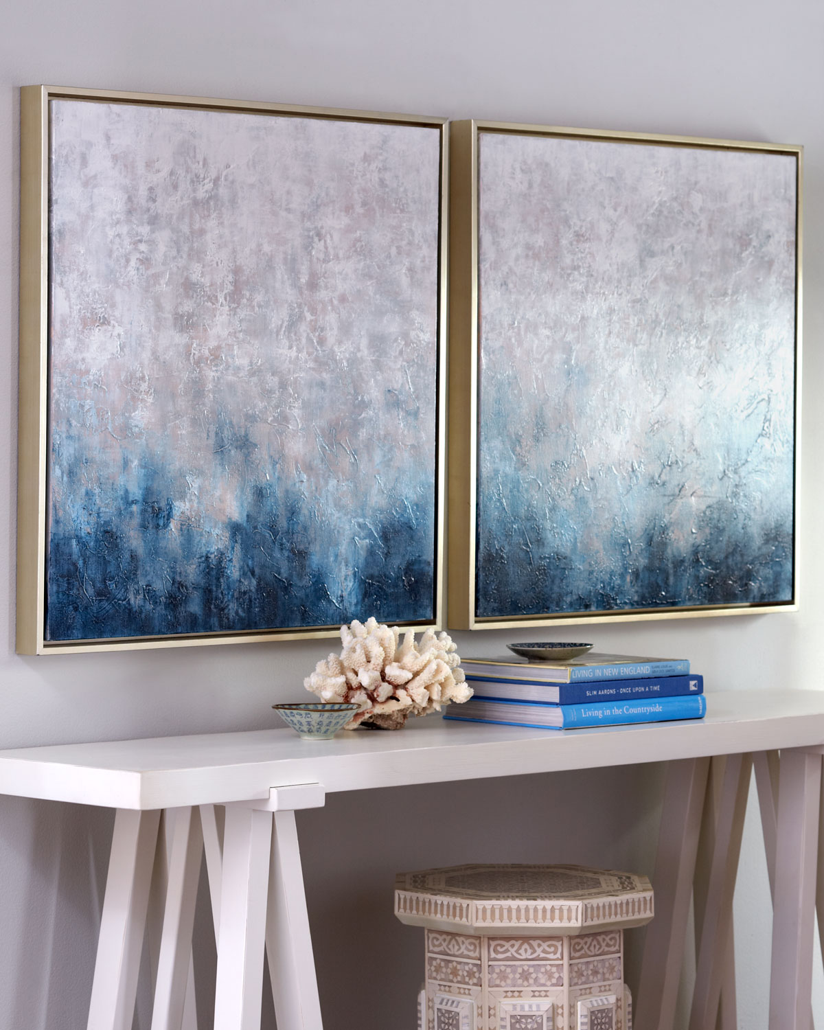 """Frost on Sapphire"" Original Paintings, 2-Piece Set"