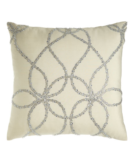 """Lili Alessandra Ivory Silk Pillow with Silver Beading, 22""""Sq."""