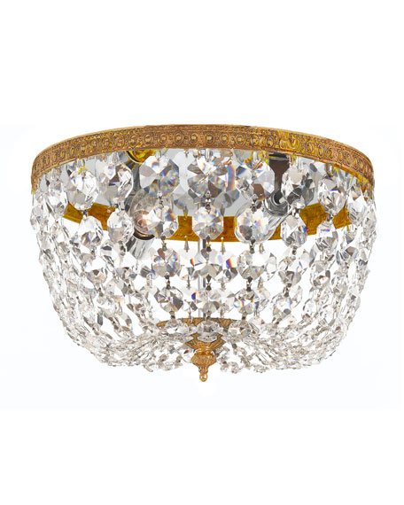 Crystorama Small Prism Brass Flush-Mount Ceiling Fixture