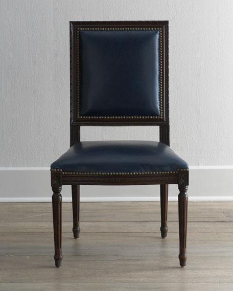 Massoud Marlin Blue Leather Side Chair