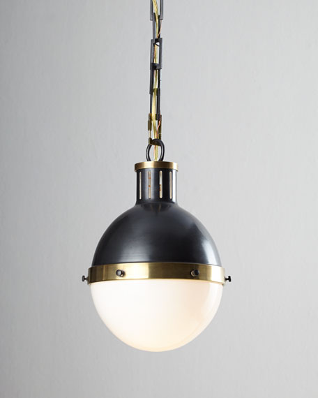 Thomas O'Brien Hicks 1-Light Small Bronze with Antiqued-Brass Pendant