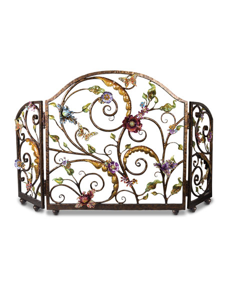 Jay Strongwater FLORAL FIREPLACE SCREEN
