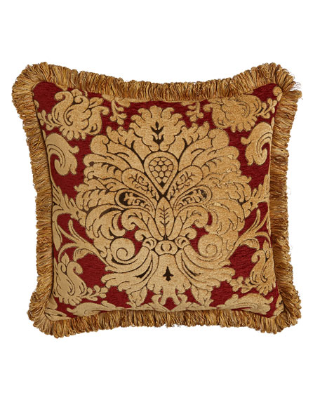 """Austin Horn Collection Bellissimo Square Chenille Pillow with Fringe, 20""""Sq."""
